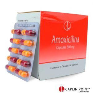Amoxicilina Cápsulas BP 500mg Caja x 100